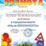 Насонова Анна грамота 3 место